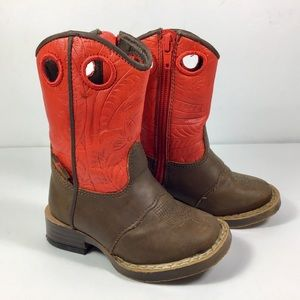 DBL Barrel toddler boots size 4 1/2 brown and red